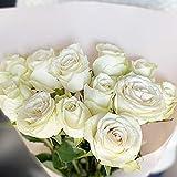 [ビズフラワー]【花束 バラ(大輪) 12本】 インポートローズ ホワイト 薔薇 お祝い 誕生日 記念日 大切な日 花材 装飾 BisesFlower