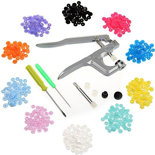 MultiWare Pince A Boutons Pressions DIY Tool 150 Pcs En Résine Pour Fermoirs 10 Couleurs Boutons Presse A La Main