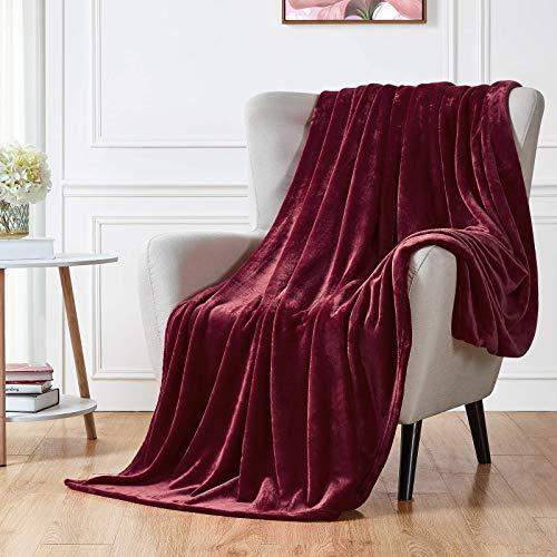 Skymico Decke Flanell Decke Super weiche und Flauschige Decke Leicht zu reinigen Geeignet für Sofa, Bett, Auto, Camping, Picknick (Weinrot 200 x 230 cm)