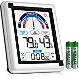 Eccostar High Accuracy Digital Hygrometer, Indoor Room Thermometer and Humidity Gauge Meter with Digital Alarm Clock, Large LCD Touchscreen with Backlight, Room Temperature Monitor