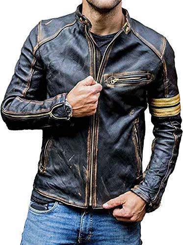 HiFacon Chaqueta de piel auténtica para hombre, estilo vintage, para motociclista, color negro
