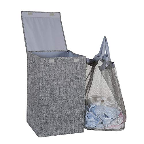 Hosroome Laundry Hamper with Lid Laundry Basket with Removable Bag Hampers for Laundry with Handles for Bedroom BathroomGrey