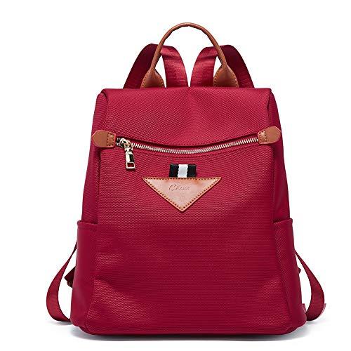 CLUCI Damen Rucksack Nylon Diebstahlsicherer Wasserdichte Rucksäcke Leichter Mode Reiserucksack Schultertaschen für Frauen, 3-rot, L