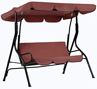 dDanke Brown Patio Swing Canopy Cover Set - Swing Replacement Top Cover + Swing Cushion Cover for 3 Seat Swing Dustproof Protection, Cover Only