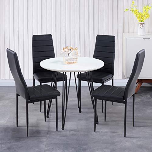 GOLDFAN Esstisch mit 4 Stuhl Essgrupp Runder Tisch und 4er Kunstlederstuhl Wohnzimmertisch für Esszimmer Küche