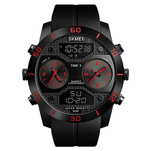 Mettime - Reloj Digital Deportivo para Hombre, 5 Bares, Resistente al Agua, con Alarma, Temporizador, Reloj de Pulsera para Hombre, Esfera Grande, Color Negro, para Deportes al Aire Libre