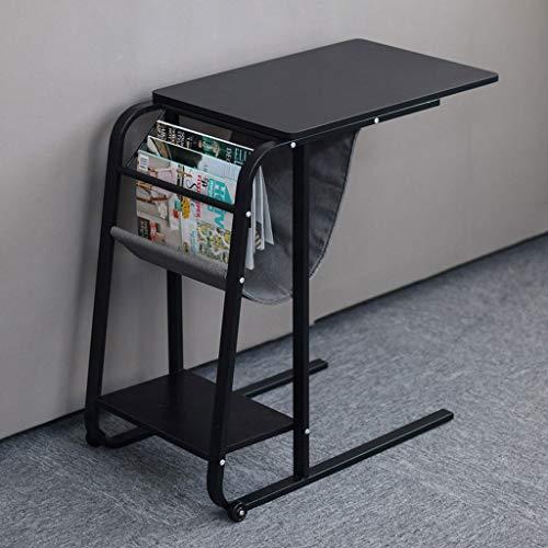 YSXCFZC Schlafsofa Beistelltisch Laptop Büro Bücher Magazine Storage Table Movable, mit Rollen Beistelltisch Kaffee Snack Tabelle (Color : Black)