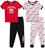 Only Boys Baby Boys' Pajama Set - 4 Piece Snug Fit Short Sleeve T-Shirt and Jogger Sweatpants (Infant/Toddler), Size 3T, Black-Red/Fire Trucks
