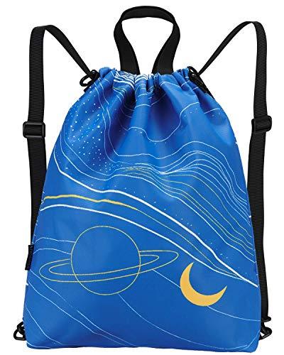 LIVACASA 5.5L 3 en 1 Mochilas de Cuerdas Hombre Mujer Fantasía Bolsos Bandolera Bolsas de Cuerdas Gimnasio Cordones Cómodos Ajustable A Prueba de Agua para Playa Piscina Luna Azul