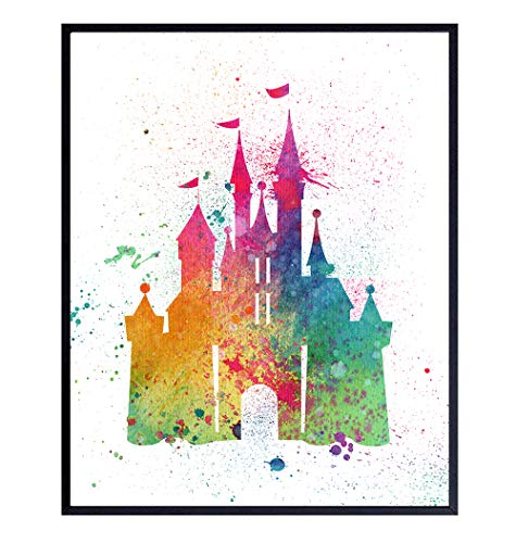 Cinderella Castle - Fairy Tale Princess Wall Art Print – 8x10 Poster – Cool Gift For Boys or Girls Bedroom, Baby Room or Nursery - Unique Watercolor Home Decor and Room Decoration – Unframed Picture