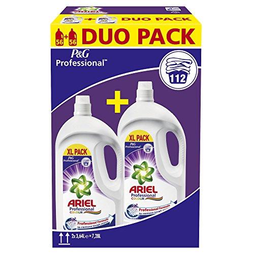 Ariel Professional - Pack de 2 botellas de detergente líquido para prendas de color, 2 x 56 lavados
