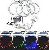 Keyecu 4x 33SMD 131MM Multi-Color RGB LED Angel Eyes Halo Ring Lighting Kit with Remote Control for BMW E36 E38 E39 E46