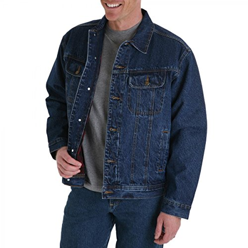 Wrangler Mens Big and Tall Flannel Lined Denim Jacket (Blue 5X)
