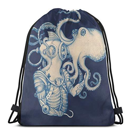 ewretery Kordelzug-Taschen Taucher und Octopus Poster Steampunk Art Unisex Kordelzug Rucksack Sporttasche Seil Tasche Big Bag Kordelzug Tote Bag Gym Rucksack in Bulk