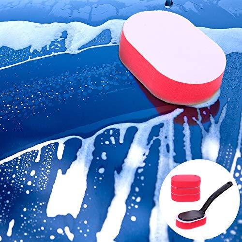 5pcs Kit de Cepillo de llanta de Rueda Cepillos aplicadores de Encerado de neumáticos de Coche con Mango