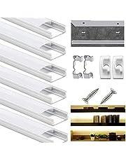 Aluminium LED-profil, DazSpirit 6 st 1 m/3 fot LED aluminiumkanal för LED-lysrör med mjölkvit diffusorskydd, ändlock och metallmonteringsklämmor