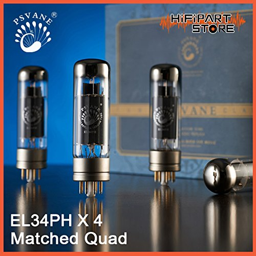 Review 4PCS Matched Quad Psvane Philips Holland Metal Base Replica EL34PH