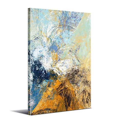 Cuadro Abstracto Moderno - 60 x 90 cm - Decoración de Pared para Salón, Dormitorio, Cocina y Baño - Lienzo de Poliéster y Bastidor de Madera, LEN-022