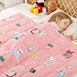 BUZIO Kids Weighted Blanket 105 x 150cm 3.2 kg, Pink Cat Blanket for Kids and Teens, 100% Natural Breathable Cotton Heavy Blanket, Great for Calming and Sleep, Pink Cat