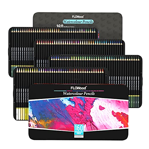 FLOWood Professional Art Colored Pencils 160, Perfect Box-packed Soft Core Colored Pencils with Artist Quality, Ideal Tools to Meet All Drawing Needs for Sketching, Coloring and Shading in Iron Box