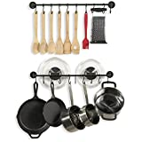 Wallniture Cucina 24' Wall Mount Kitchen Utensil Holder with 10 S Hooks for Hanging Pots and Pans Set of 2, Black