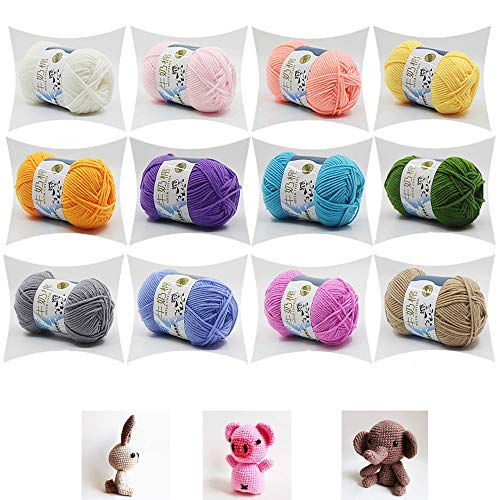 SSyang 12 Piezas 50g Ovillo de Lana Leche Algodón,Suave Leche de algodón natural de la mano de tejer lana de lana bola del hilado del bebé para cualquier proyecto de ganchillo y punto(12 Colores)