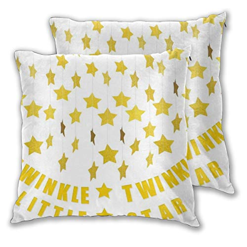KASABULL Throw Pillow Covers Set of 2 Star Garland Twinkle Little Star Banner Decoration Birthday Party Christmas Weddings Pillowcase Decorative Cushion Cover without Pillow 30cm x 30cm