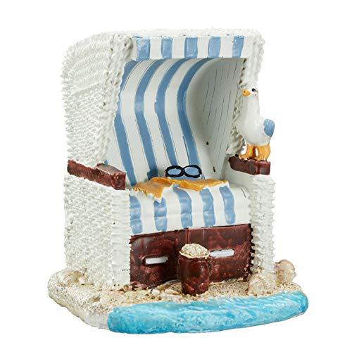 Topshop24you wunderschöne Urlaubskasse,Reisekasse Spardose Strandkorb blau/weiß gestreift mit Kissen und Gummistopfen ca. 12 cm groß