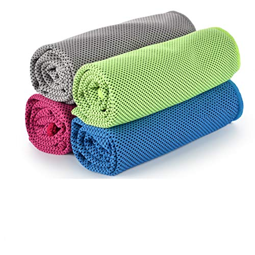 EDEUOEY Yoga Sports Cooling Towels Women Men Outdoors Microfiber Keep Ice Towel Set Hot Heat Weather Snap Stay Cool Water Instant Cold Off Golf Exercise Gym Face Neck Towel 4 Pack