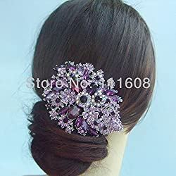 Large purple crystal flower hair pin