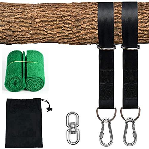 Qagazine Kit de correa de columpio de árbol, correa de hombro ajustable+mosquetón de 300 libras+correa de hamaca de gancho oscilante para acampar mochileros columpios