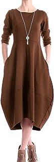 AUDATE Women's Bubble Hem Elegant Dress Crew Neck Long Sleeve Midi Dress with Side Pockets