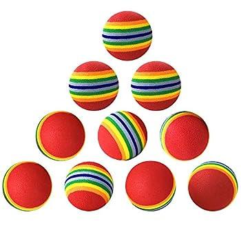Gobesty 10 pièces Mignon Jouet Balles Coloréés, 4.2cm Arc-en-Ciel en Boule de Chat de Jouet de Mousse de Jouet Mou pour Animaux Pet Chien Chat