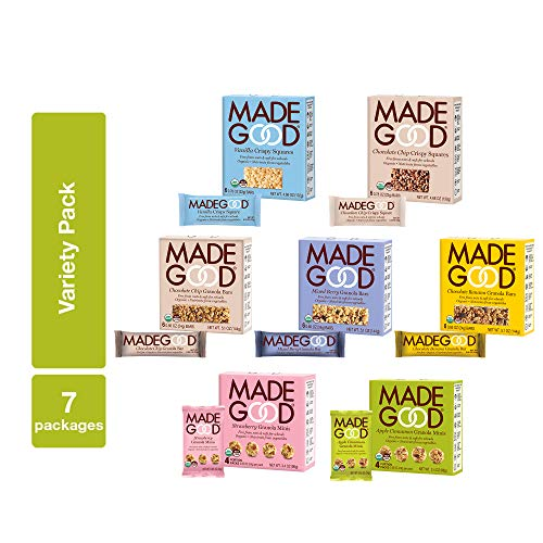 MadeGood Healthy Snacks Variety Pack - 7 Box Mix of Granola Bars, Granola Mini Snack Packs, Crispy Squares; 38 Individual Items