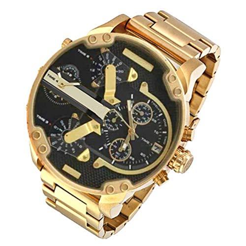 TAOHOU Dz7315 Reloj para Hombre Reloj con Esfera Grande, Acero Inoxidable con Reloj de Cuarzo Cinturón de Oro y Concha Dorada