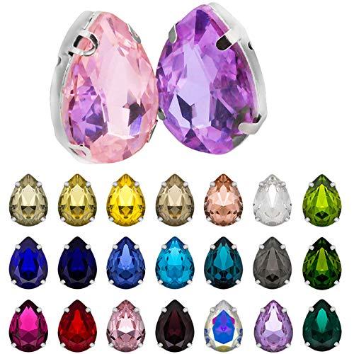 Gwolf Artesanías de diamantes de imitación, 150 piezas de diamantes de imitación de vidrio Pedrería de colores Artesanías De Gemas De Cristal Piedras preciosas de vidrio para ropa de manualidades DIY