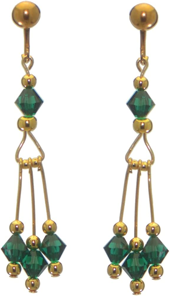 ADELHEID gold plated swarovski elements emerald green crystal drop clip on earrings