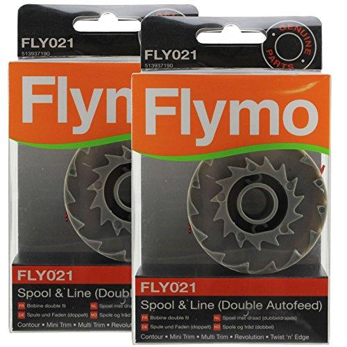 Vrai FLYMO Revolution 2000 2300 Coupe-bordure Bobine & Ligne Double Auto alimentation (Pack de 2, FLY021)