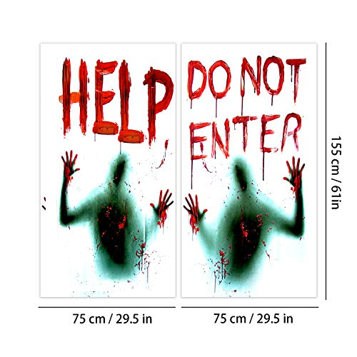 Angshop 2 pezzi Halloween Giant Bloody Window Posters Decorazione per case stregate, Halloween Party Window Clings 150*155cm
