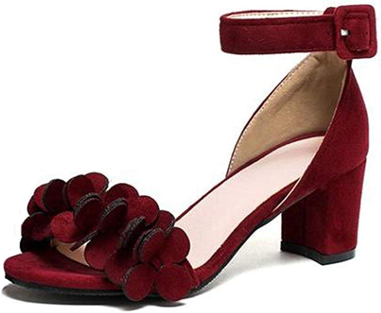 Ghapwe Women's Sweet Faux Suede Flowers Buckled Ankle Strap OL Work shoes Medium Block Heel Sandals Wine Red 5 M US