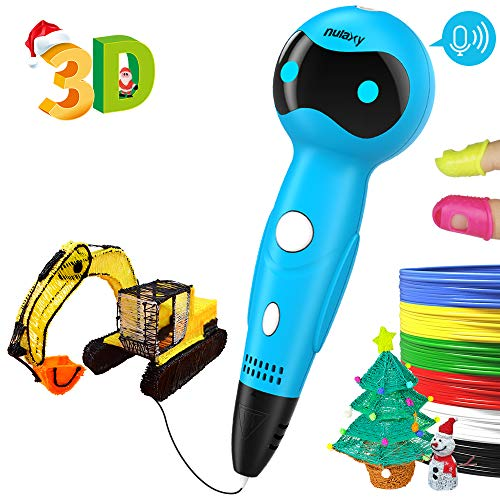 Nulaxy 3D Pen, First Robot 3D Drawing Printing Printer Pen with Voice Prompts PLA Filament Refills Automatic Feeding, Best Birthday Holiday Gifts Toys to Inspire Kids Teens Creativity (C)