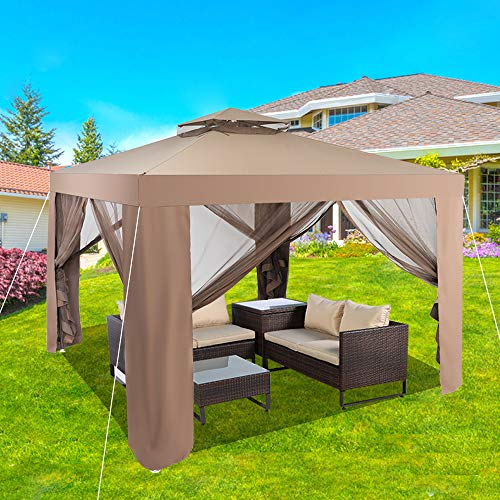 UNCHAIN KEDY 10' x 10' 2-Tier Outdoor Soft Top Gazebo with Curtains, Canopy Gazebo Tent Shelter Garden Lawn Patio House Party Canopy Home Patio Garden Structures Gazebos (Khaki)