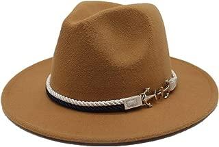 Hats and Caps Wool Fedora Hat for Men Women European American Hat OutBlack Church Wide Brim Felt Hat (Color : Khaki, Size : 56-58CM)