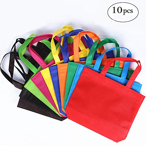 Homyu 10Pcs Reusable Tote Bags Travel To-Go Food Containers Non-woven Fabric Gift Reusable Shopping Grocery Bags with Handles