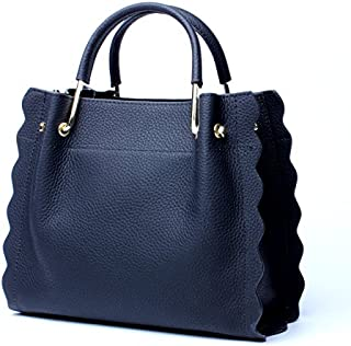 Leather 2018 New Ladies Handbag Leather Fashion Large Capacity Cowhide Tote Wallet Shoulde Waterproof (Color : Blue, Size : M)