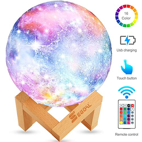 Moon Lamp Moon Light Kids Night Light Galaxy Lamp 16 Colors LED 5.9 Inch 3D Star Lamp with Wood Stand, Touch & Remote Control & USB Rechargeable Baby Light Perfect Gift for Girls Lover Birthday