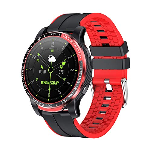 Reloj inteligente PW20 con Bluetooth, para hombre, presión arterial, frecuencia cardíaca, 24 horas, varios deportes para Android iOS (color: rojo)