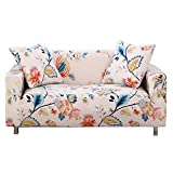 HOTNIU Stretch Sofa Cover Printed Couch Covers for 3 Cushion Couch Slipcovers for Sofas Loveseat Armchair Universal Elastic Furniture Protector with One Free Pillowcase (3 Seat, White Flower)