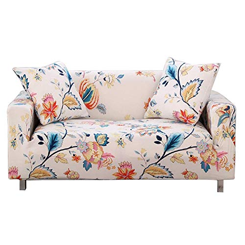 HOTNIU Stretch Sofa Cover Printed Couch Covers for 4 Cushion Couch Slipcovers for Sofas Loveseat Armchair Universal Elastic Furniture Protector with One Free Pillowcase (4 Seat, White Flower)