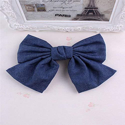 Tony plate Accessoires pour Cheveux Vintage Denim Big Bow Hair Barrette pour Femmes Polka Striped Hair Pin Cheveux Accessoires Chapeaux-Bleu Foncé